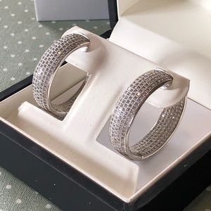 Mesmerizing White Gold Diamond Pave Hoops.